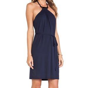 Trina Turk Asher dress tie neck navy blue sz 8